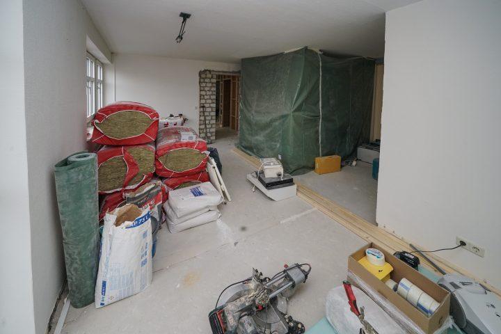 Blick in das zukünftigee Wohnzimmer von App. 201 Strandburg Juist, noch Baustelle