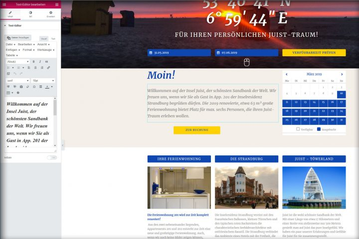Screenshot der Website juist-traum.de