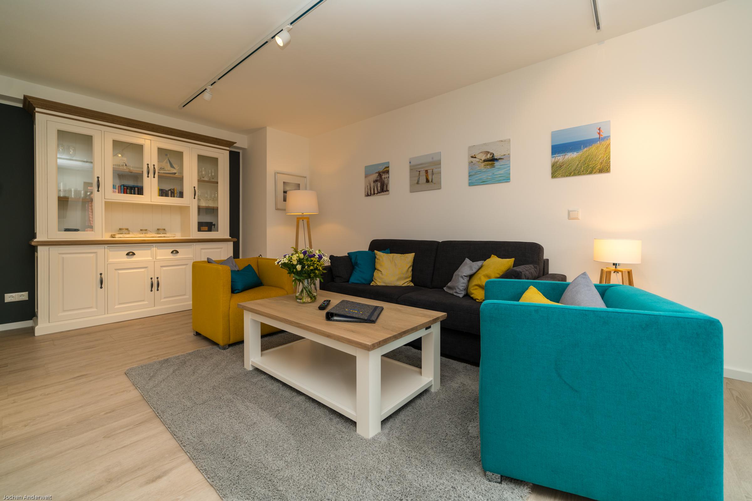 Wohnzimmer der Ferienwohnung App. 201 in der Strandburg Juist
